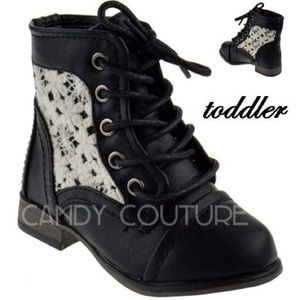 Black lace toddler booties